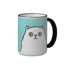 Gato persa blanco gruñón del gatito taza de café