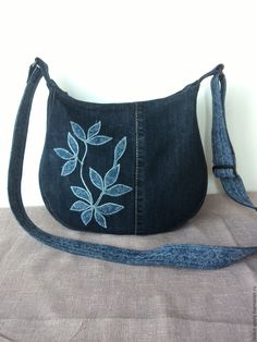 Купить ДЖИНСОВАЯ СУМОЧКА - синий, рисунок, сумочка ручной работы, сумка на каждый день