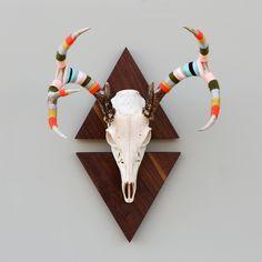 ▲We Got Game Series-Yarn Wrapped European Mount Deer Antlers on Custom Walnut Triangle Mounts via Cast & Crew on Fab.com & Etsy.com.▲