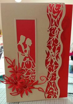 Red and ivory wedding card using Tonic dies