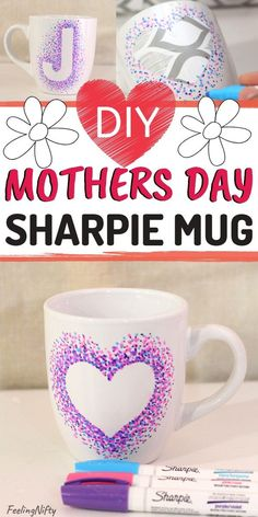Show your mom some love with this unique and creative Sharpie Mug! Perfect mothers day gift from daughter, from adult, teens, kids. Perferct for Grandma too! Use white mugs from the Dollarstore and some Sharpies to make this meaningful & thoughtful Easy Diy Mother's Day Gifts, Diy Mother's Day Crafts, Homemade Mothers Day Gifts, Mothers Day Crafts For Kids, Unique Mothers Day Gifts, Diy Gifts For Kids, Mother's Day Diy, Crafts For Teens, Mother Day Gifts