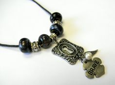 Brave Ceramic and Antiqued Silver Inspirational Necklace by HandcraftedSerenity on Etsy, $27.99