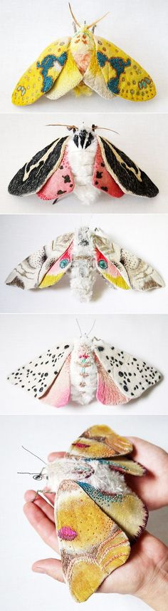 Yumi Okita Moths always bring up memories of summer nights with pulsating clouds of fluttery wings swarming the lights by the door…and the subsequent shrieking that breaks the quiet as I flail my arms a… Design Textile, Textile Art, Textiles, Insect Art, Insect Wings, Soft Sculpture, Fabric Art, Cool Fabric, Needle Felting