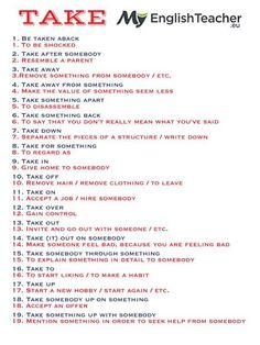 19 Most Common Phrasal Verbs with TAKE