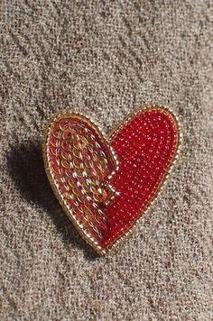 heart brooch red