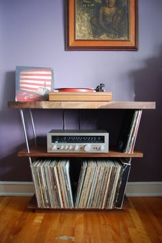 """Solid Walnut Record Player Table / Shelf and LP Holder for 12"""" Vinyl LPs - Stainless Steel - Holds 300 x 12"""" Vinyl - Record Storage"""