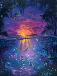 Original Underwater Fantasy Ocean Scene by Erica Kilbourn . Original Underwater Fantasy Ocean Scene by Erica Kilbourn Jellyfish Art, Underwater Painting, Fantasy Paintings, Fantasy Artwork, Spirited Art, Fairytale Art, Animal Wallpaper, Fantasy Landscape, Ocean Art