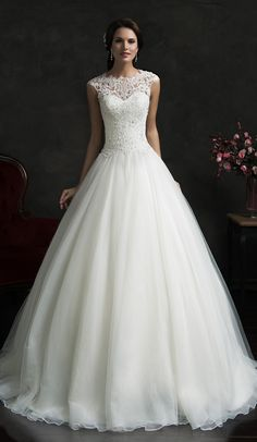 Lace A-Line Wedding Dresses 2016 Cap-Sleeves Beading Bodice Elegant Bridal Gowns