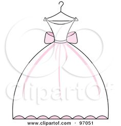 Royalty-Free (RF) Clipart Illustration of a Pink And White Wedding Dress On A Hanger by Pams Clipart