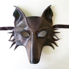 Grey Wolf Leather Mask fox dog shepherd Grey and Brown by teonova, $128.00
