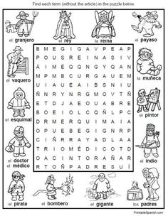 Simple Spanish vocabulary search-a-word puzzles