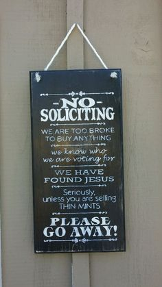 No Soliciting Sign Any Color Funny Home Decor Gift Idea | eBay