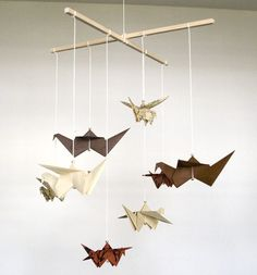 Japanese Text Small Origami Mobile / Peace Cranes by juliedyecraft, $35.00