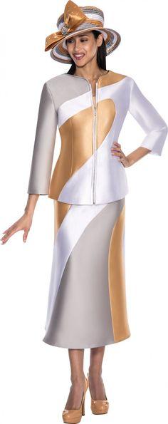GMI G5683 Silver-White-Gold Womens Church Suits - Divine Church Suits