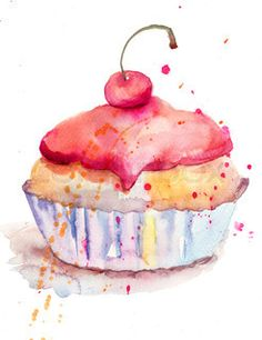 Watercolor illustration of cake ;) very light dessert - this would be cute hanging in the kitchen somewhere possibly...