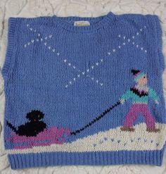 Vtg Jantzen Handknit Sweater sz L Blue Chunky Sleeveless Graphic Sled Dog Winter #Jantzen #Sweater