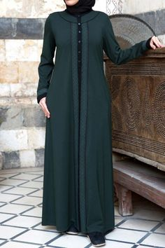 Analia Lace Trim Abaya - New Arrivals - Women Abaya Fashion, Modest Fashion, Fashion Dresses, Moslem Fashion, Hijab Style Dress, Breastfeeding Clothes, Islamic Clothing, Modest Dresses, Fashion 2020