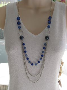 Long Blue Beaded Necklace Multi Strand
