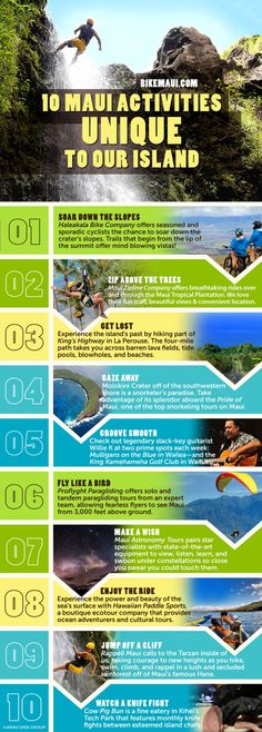 Ten Maui Activities Unique to our Islands #Infographics