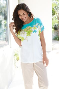 e828da56c9990 Lighten Up with a Ruby Rd Floral Knit Top Plus Size Tops