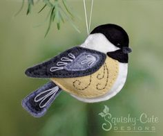 Chickadee Sewing Pattern PDF - Backyard Bird Stuffed Ornament - Felt Plushie - Chester the Chickadee - Instant Download (4.50 USD) by SquishyCuteDesigns