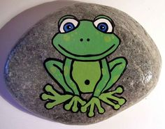 Painted rock welcome signs hand painted frog rock by funkyglass on etsy c. Rock Painting Patterns, Rock Painting Ideas Easy, Rock Painting Designs, Pebble Painting, Pebble Art, Stone Painting, Painted Rock Animals, Painted Rocks Kids, Painted Stones