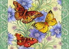 green borders with butterflies