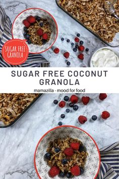 Try this coconut sugar-free granola for breakfast with a couple of spoonfuls of yoghurt and some fruits. It will fill you up with loads of energy! You can use different nuts like walnuts, almonds, cashews and even some pumpkin seeds to elevate the flavour. #sugarfreegranola​ #granola​ #coconutflakes​ #breakfast​ #nuts #breakfastideas​ #mamazillamoodforfood Sugar Free Recipes, Gluten Free Recipes, Sugar Free Granola, Different Nuts, Crunchy Granola, Coconut Sugar, Almonds, Vegan Vegetarian, Fill