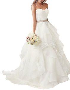 Elegant Ruffles Organza Wedding Dresses for Bride Bridal Gowns with Sash