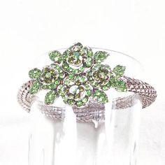 Upcycled Vintage Bracelet Green Crystal Flowers On Adjustable