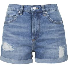 TOPSHOP TALL Mid-Stone Rosa Denim Shorts ($52) ❤ liked on Polyvore featuring shorts, bottoms, pants, short, mid stone, denim shorts, short jean shorts, ripped jean shorts, destroyed shorts and torn shorts