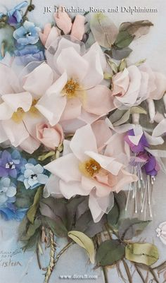 A gorgeous new kit is released for silk ribbon work. Fuchsias and Roses and Delphiniums. Just beautiful!