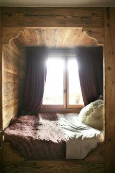 Cozy bed nook for our tiny house we plan to build.