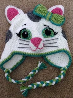 Crochet Hat Katerina Kitty Cat Hat - Welcome neighbor, meow meow. This hat is great for your little twirling ballerina. Fashioned after the character on Daniel Tiger, you can dance the day away. Crochet Animal Hats, Crochet Kids Hats, Crochet Beanie, Crochet Crafts, Crochet Projects, Knitted Hats, Free Crochet, Hat Crafts, Knitting Projects