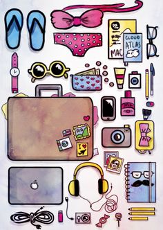 Travel stuff uploaded by Thea Nielsen on We Heart It Kawaii Drawings, Art Drawings Sketches, Cute Drawings, Kawaii Doodles, Cute Doodles, Doodle Girl, Travel Drawing, Unicorn Art, Bullet Journal Ideas Pages