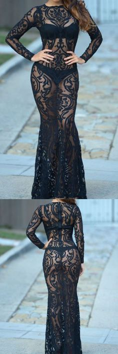 Black semi-transparent lace dress- for red carpet and holiday parties!