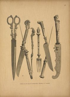 Cutlery in the Royal Gardemeuble, Dresden (17th century). From New York Public Library Digital Collections.