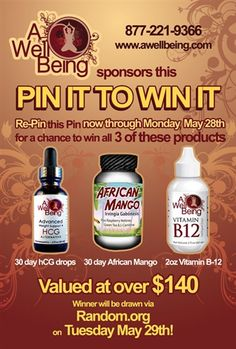 Re-pin this photo of hCG Drops, African Mango, and Vitamin B 12 to win it. Winner will be drawn on Tuesday, May 29th via Random.org