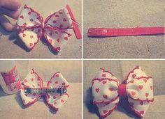 DIY Crafts : DIY Handmade red hair bows for girls