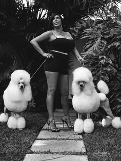 Big Ang and her poodles