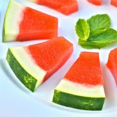 Jello Shots made from fresh watermelon and mint inside a real watermelon rind!