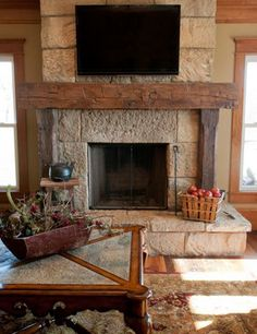 Fireplace mantel ideas - You can make your fireplace mantel design by yourself. Rustic Fireplace Decor, Farmhouse Fireplace Mantels, Marble Fireplace Mantel, Old Fireplace, Rustic Fireplaces, Rustic Farmhouse Decor, Fireplace Surrounds, Fireplace Design, Classic Fireplace