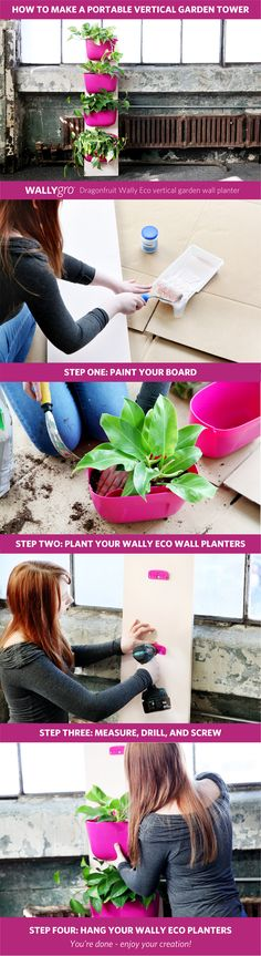 How To Make a Portable Vertical Garden Tower Design and construction of a ver. How To Make a Porta Vertical Garden Diy, Vertical Gardens, Indoor Planters, Stone Planters, Tower Design, Flowers Perennials, Green Plants, Bloom, Diy Projects