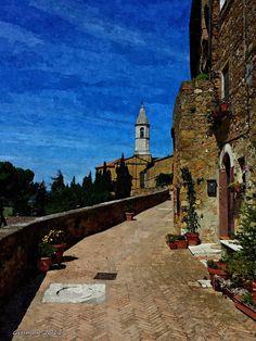 Scorcio a Pienza Boruto, Big Ben, Mansions, Digital, House Styles, Building, Travel, Painting, Home Decor