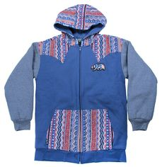 Bear Collection Wavy Blue Zip Up Hoodie
