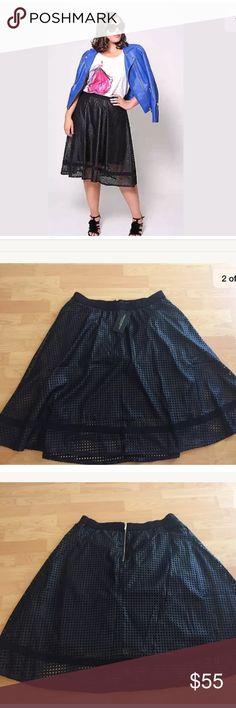 New Christian siriano Lane Bryant Circle Skirt Christian siriano for Lane Bryant skirt  Size 18  Black perforated design  Zipper at the back  Elastic waistband  New!!! Lane Bryant Skirts Midi