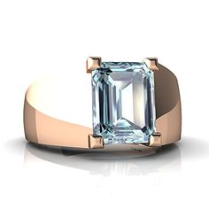 Rose Gold Aquamarine Emerald_Cut Mens Ring Size 14 Visit the image link more details. Men's Jewelry Rings, Gemstone Jewelry, Jewelry Gifts, Jewelery, Beautiful Gold Rings, Gents Ring, Gypsy Rings, Mens Ring Sizes, Jewelry Showcases