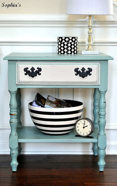 New Life for Nightstands with Annie Sloan Chalk Paint in Duck Egg Blue, Pure White, and Graphite drawer hardware