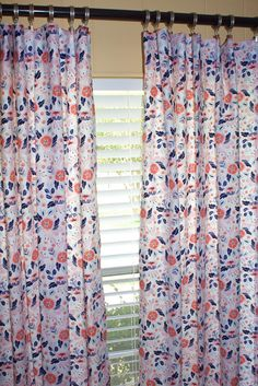 Baby Girl Floral Curtains. 2 Panels Of 40x84.Baby Girl Nursery