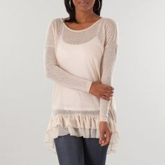 Semi-sheer cotton knit tunic sweater with ruffle-hem and attached camisole
